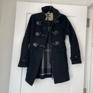 Burberry Peacoat Toggle Closure Black Wool Coat